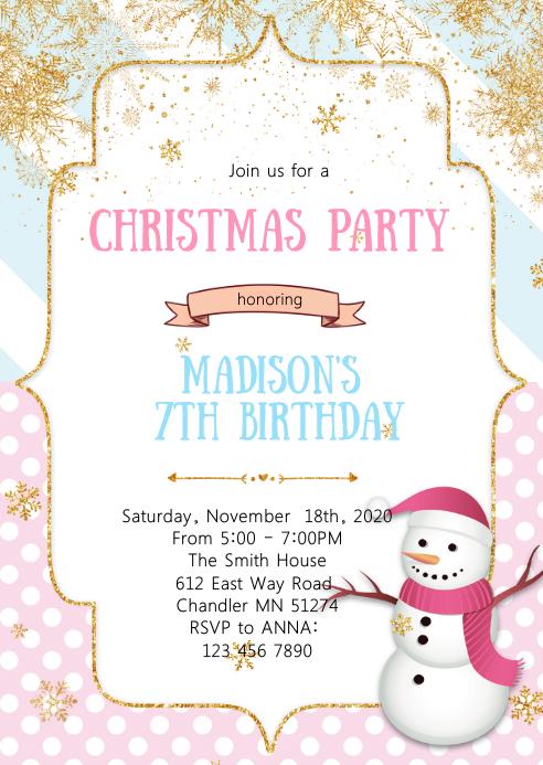Christmas snowman birthday party invitation