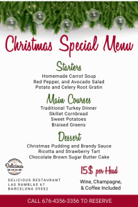 Christmas Specials Menu Template