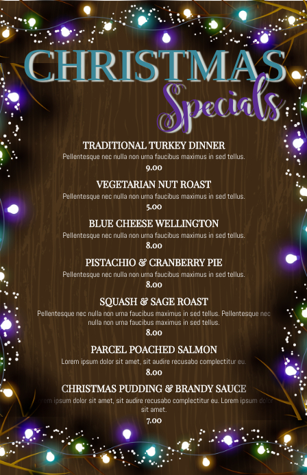 christmas specials restaurant menu template postermywall