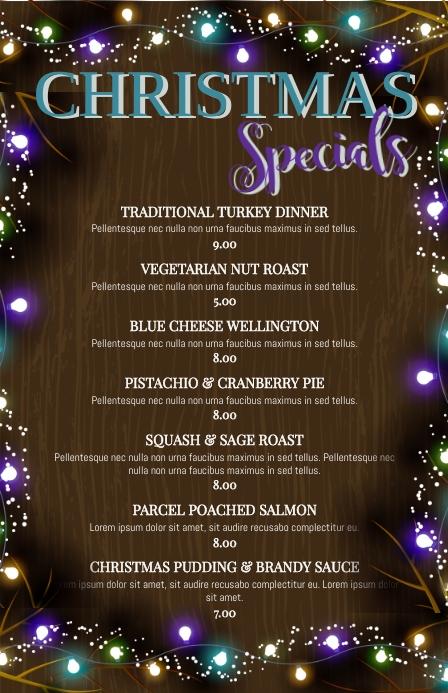 Christmas Specials Restaurant Menu Tabloïd template