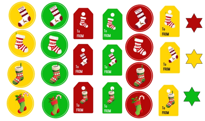 Christmas Stockings Tags and Stickers Etykietka doczepna template