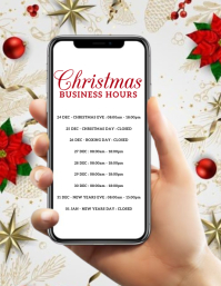 CHRISTMAS STORE BUSINESS HOURS Flyer Template