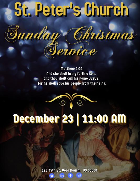 Christmas Sunday Service Løbeseddel (US Letter) template