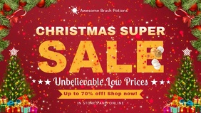 Christmas Super Sale Red Facebook Banner