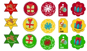 Christmas Tags and Stickers Merker template