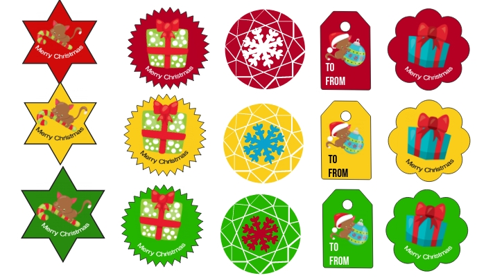 Christmas Tags and Stickers Cartellino template