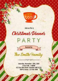 Christmas tea party invitation A6 template
