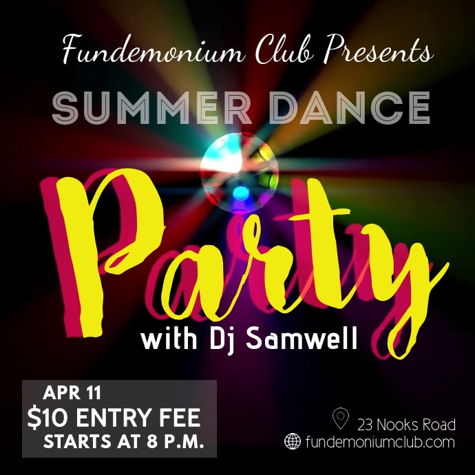 summer dance party video template
