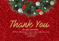 Christmas Thank You for your purchase postc Postcard template