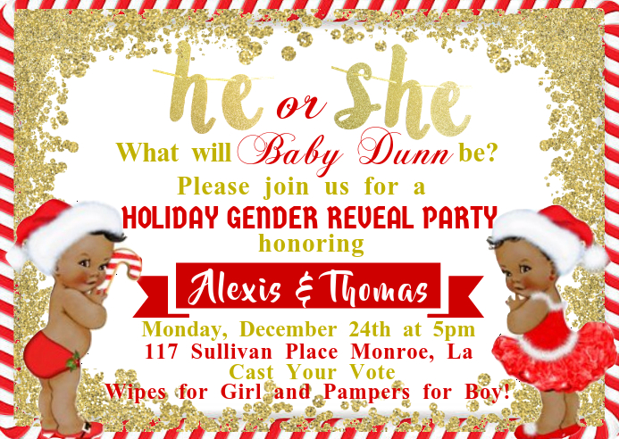 Christmas Theme Gender Reveal