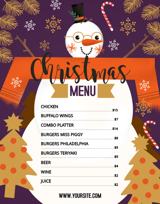 Christmas Themed Menu Poster/Wallboard template