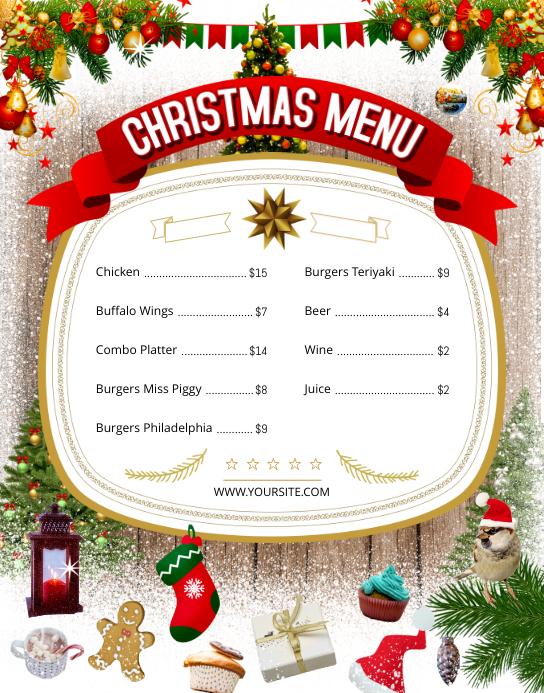 Christmas Themed Wallboard Menu Poster/Wallboard template