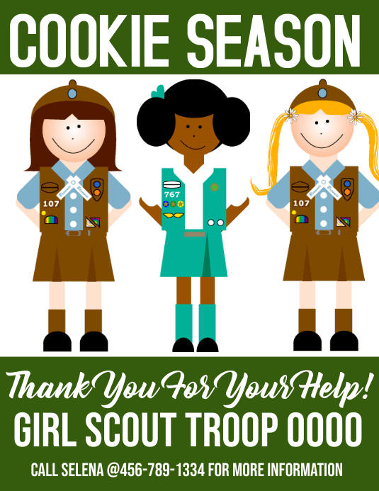 girl scout cookie season Flyer (US Letter) template