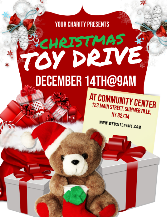 Christmas Toy Drive Flyer Template Postermywall