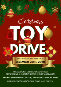 christmas toy drive flyer A4 template