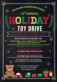Christmas toy drive flyer template A4