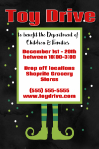 christmas toy drive fundraiser poster event flyer holiday