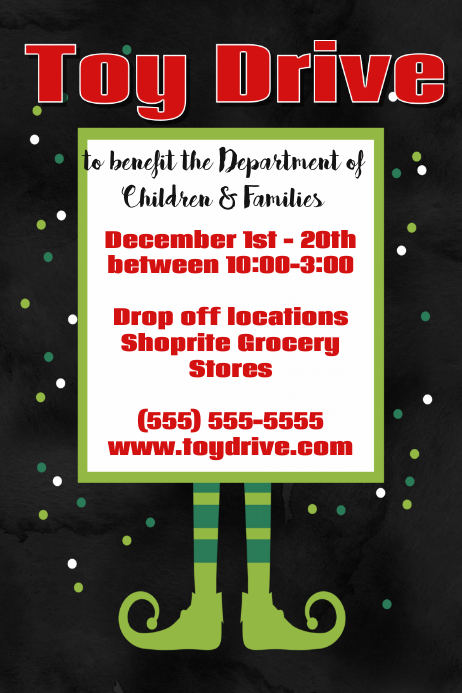 Christmas Fundraiser Flyer.Christmas Toy Drive Fundraiser Poster Event Flyer Holiday