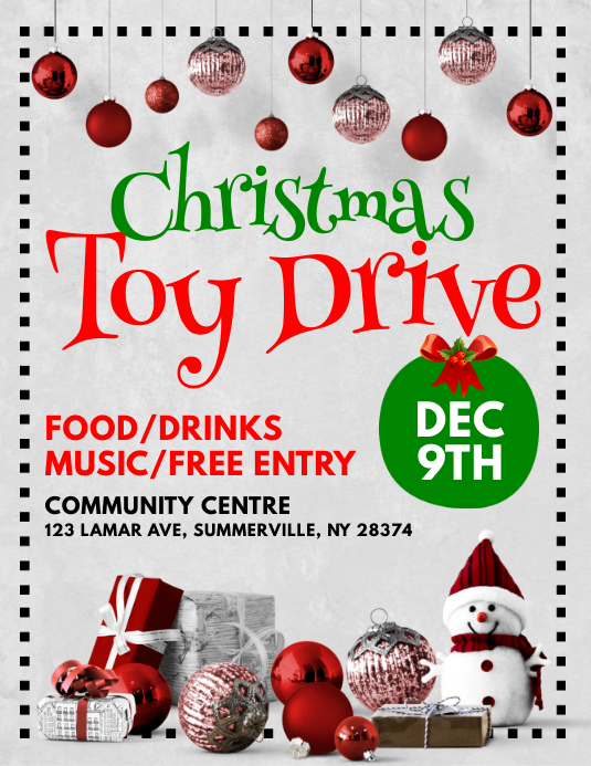Customizable Design Templates For Christmas Toy Drive Template