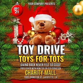 CHRISTMAS TOYS FOR TOTS DRIVE FLYER TEMPLATE Instagram Post