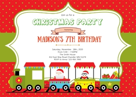 Christmas train birthday party invitation