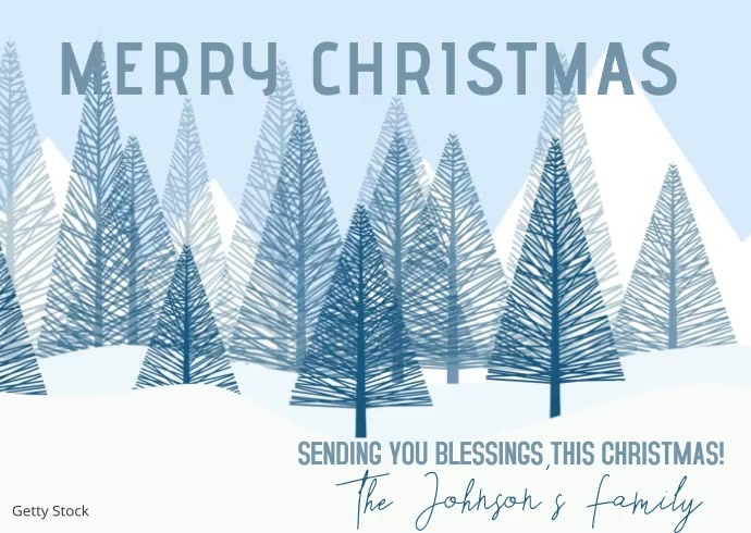 Christmas Tree Blessings Family Greeting Postcard template