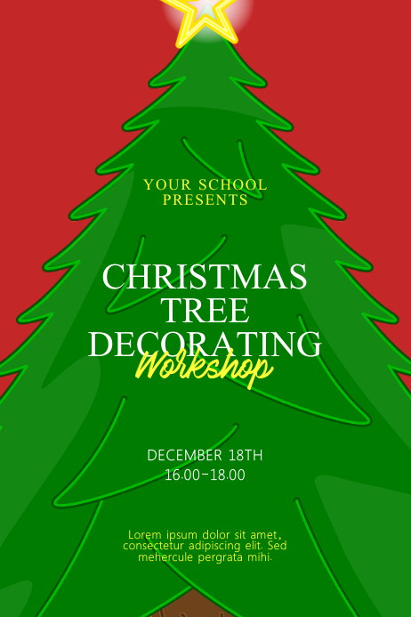 Christmas Tree Decorating Workshop Flyer