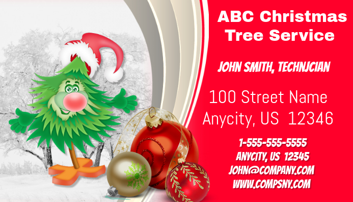 christmas tree service business card - Tree Service Business Cards