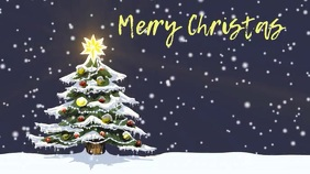 Christmas tree zoom background Présentation (16:9) template