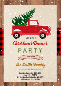 Christmas truck party invitation