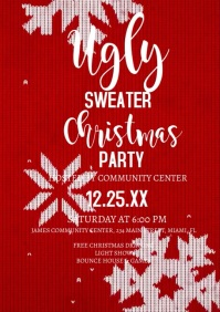 Christmas Ugly Sweater Party Flyer Video A4 template