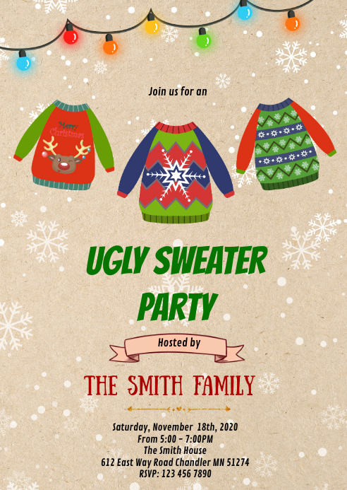 Christmas ugly sweater party invitation A6 template