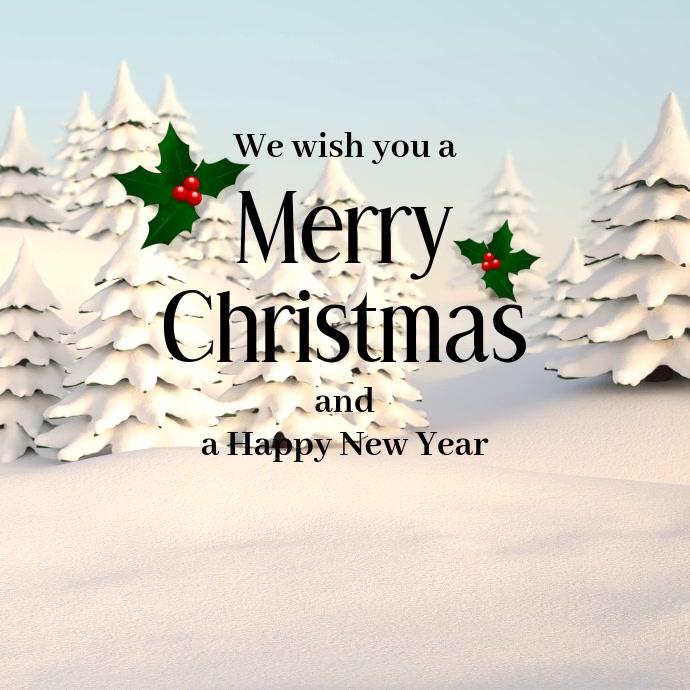 Christmas Video Greeting Card Snow Wood Tree