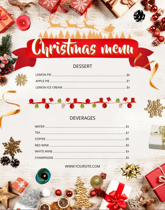 Christmas Wallboard Menu Plakat/vægtavle template