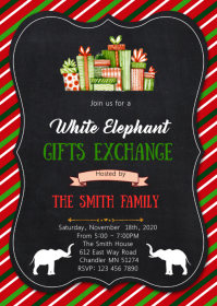 Christmas white elephant invitation A6 template