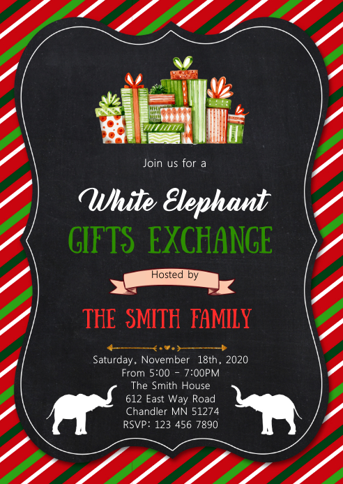 Christmas white elephant invitation