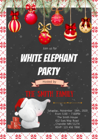 Christmas white elephant party invitation