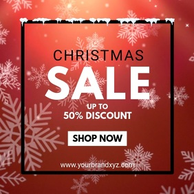 Christmas Winter Sale Snow Red Price Off Shop