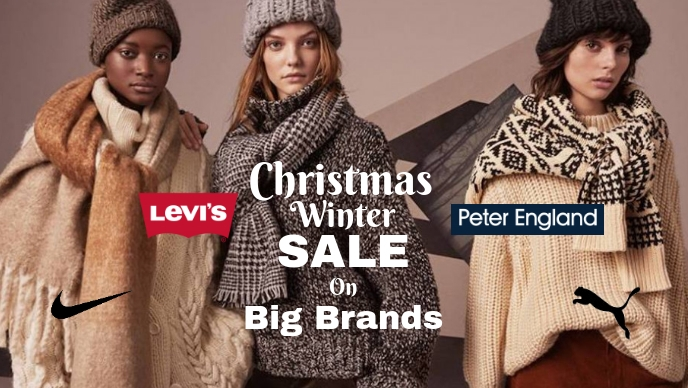 Christmas winter sales poster template