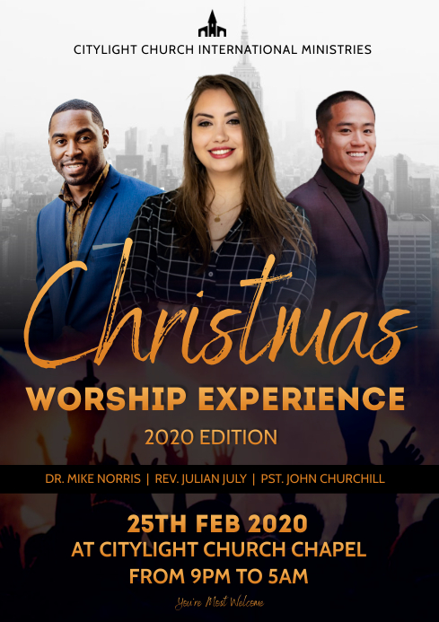 christmas worship flyer A3 template