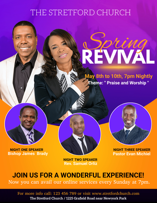 church, praise and worship, revival Flyer (Letter pang-US) template