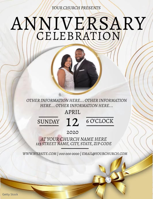 Church Anniversary Celebration Template Folheto (US Letter)