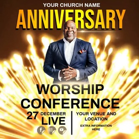CHURCH ANNIVERSARY CONFERENCE VIDEO template Instagram Post