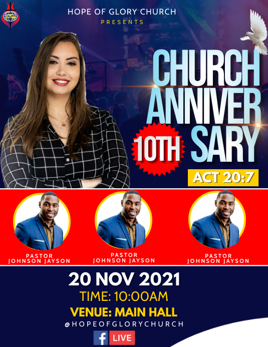 Church anniversary Flyer (US-Letter) template