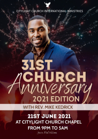 church anniversary flyer A3 template