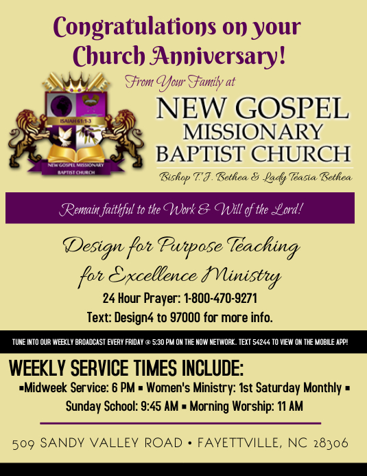 church anniversary congratulations ad
