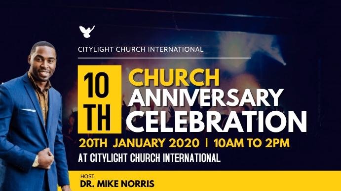 CHURCH ANNIVERSARY POSTER Digitalt display (16:9) template