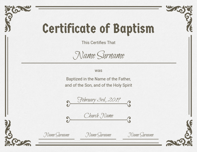 Church Baptism Certificate