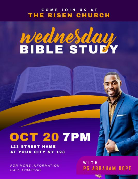 Church Bible Study Flyer 传单(美国信函) template