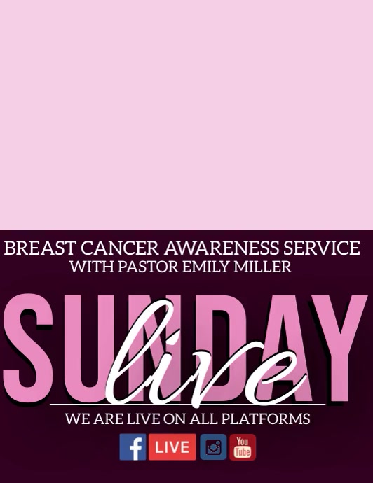 church breast cancer awareness service Flyer (US Letter) template